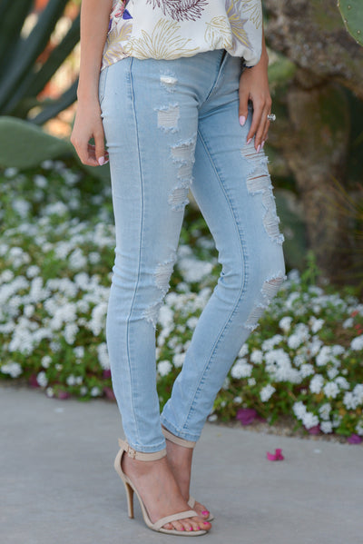 KAN CAN Distressed Skinny Jeans - Kayla Wash distressed light wash jeans, side, Closet Candy Boutique