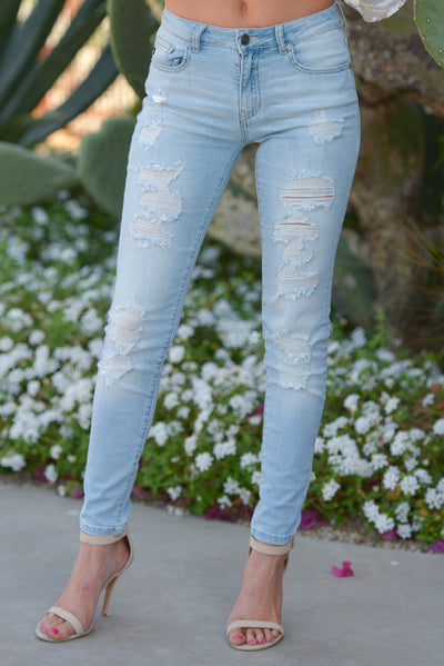 KAN CAN Distressed Skinny Jeans - Kayla Wash distressed light wash jeans, front, Closet Candy Boutique