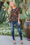Coming Up Roses Top - Black floral print short sleeve top, front, Closet Candy Boutique