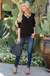 Khloe Saddle Bag Large - Black vegan leather saddle bag with stitched trim, outfit, Closet Candy Boutique
