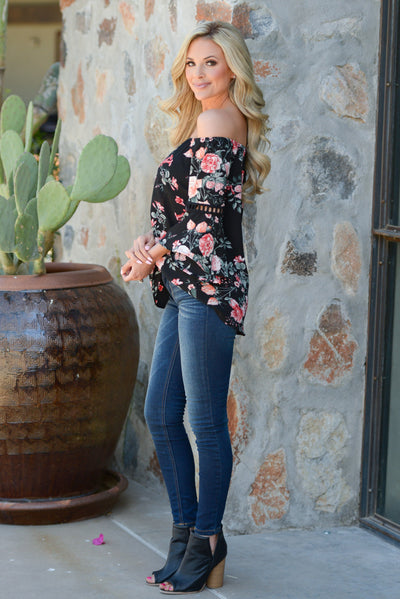Blooming Oasis Top - Black off the shoulder floral print top, side, Closet Candy Boutique