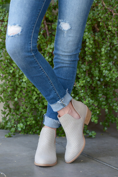 Take Me There Booties - Light Taupe v-slit booties, front, Closet Candy Boutique