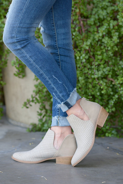 Take Me There Booties - Light Taupe v-slit booties, side, Closet Candy Boutique