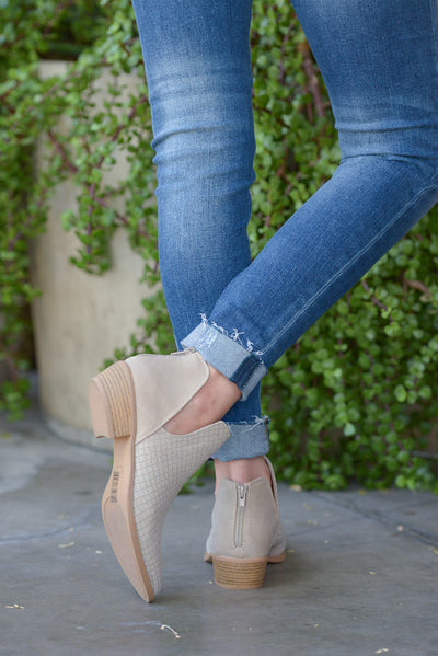 Take Me There Booties - Light Taupe v-slit booties, back, Closet Candy Boutique