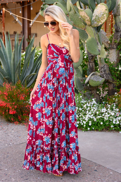 Take My Breath Away Maxi Dress - Wine women's beautiful floral print long dress, Closet Candy Boutique 3