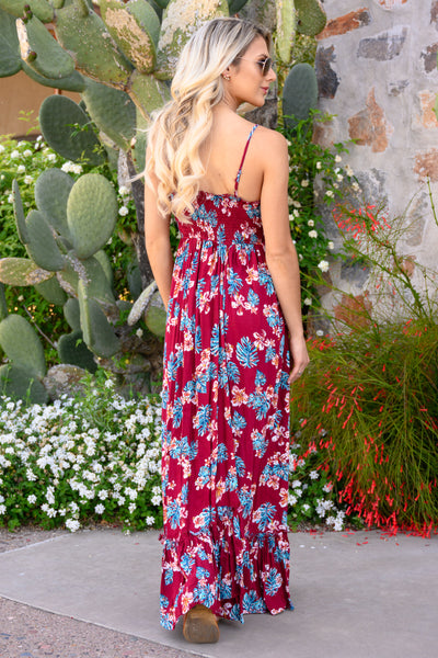 Take My Breath Away Maxi Dress - Wine women's beautiful floral print long dress, Closet Candy Boutique 2