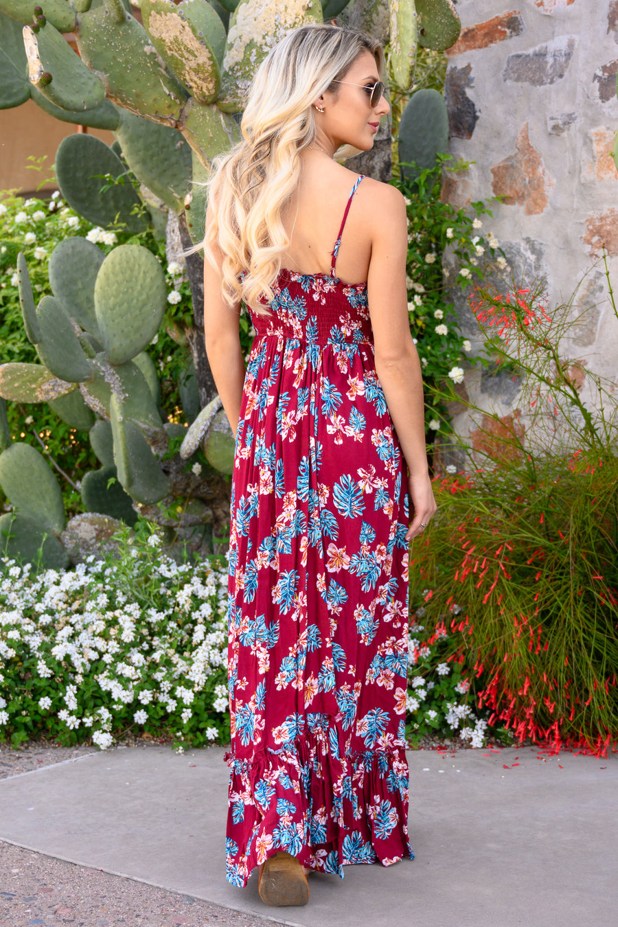 Take My Breath Away Maxi Dress - Wine women's beautiful floral print long dress, Closet Candy Boutique 1