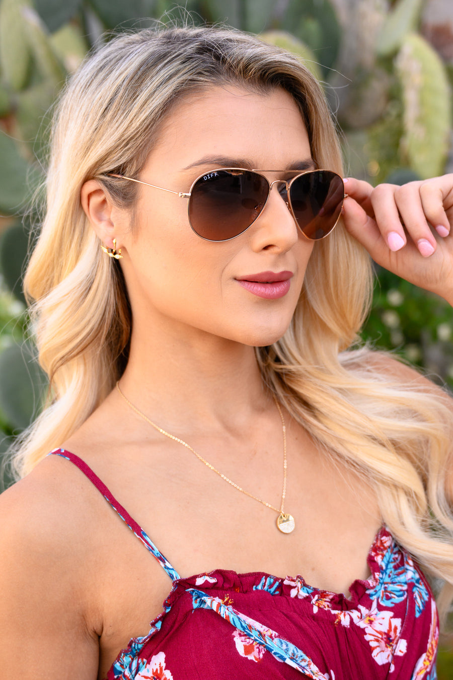 Cruz Aviators - Rose Gold & Wine sunglasses, Closet Candy Boutique 1