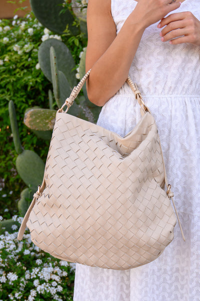 Quincy Tote - Cream women's large woven leather purse, Closet Candy Boutique 1