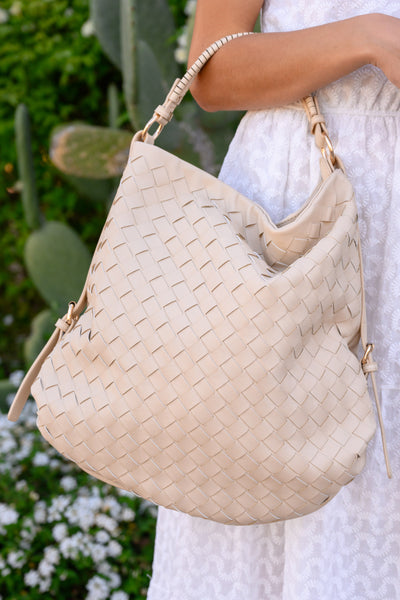 Quincy Tote - Cream women's large woven leather purse, Closet Candy Boutique 3