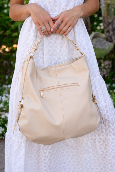 Quincy Tote - Cream women's large woven leather purse, Closet Candy Boutique 2