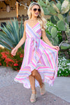 Spring Haze High-Low Dress - Multi colorful striped v-neck maxi dress, Closet Candy Boutique 1