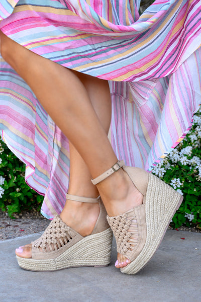 Anastasia Wedges - Nude women's peep-toe braided heels, Closet Candy Boutique 1