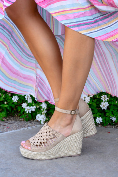 Anastasia Wedges - Nude women's peep-toe braided heels, Closet Candy Boutique 3