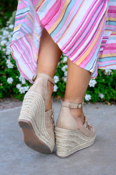 Anastasia Wedges - Nude women's peep-toe braided heels, Closet Candy Boutique 2
