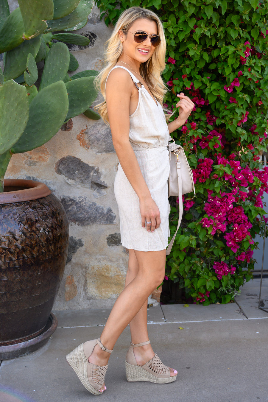 Date In The Desert Dress - Natural women's v-neck mini dress with tie belt and tulip hem, Closet Candy Boutique 1