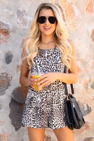 Something So Wild Romper - Latte women's trendy leopard print romper, Closet Candy Boutique 3