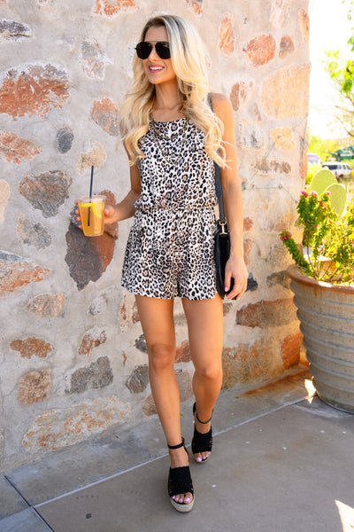 Something So Wild Romper - Latte women's trendy leopard print romper, Closet Candy Boutique 5