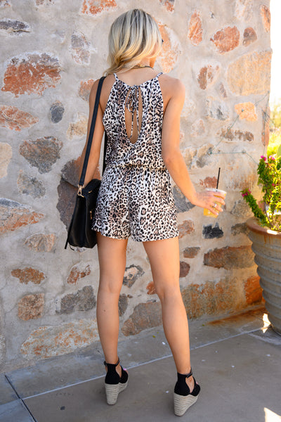 Something So Wild Romper - Latte women's trendy leopard print romper, Closet Candy Boutique 2