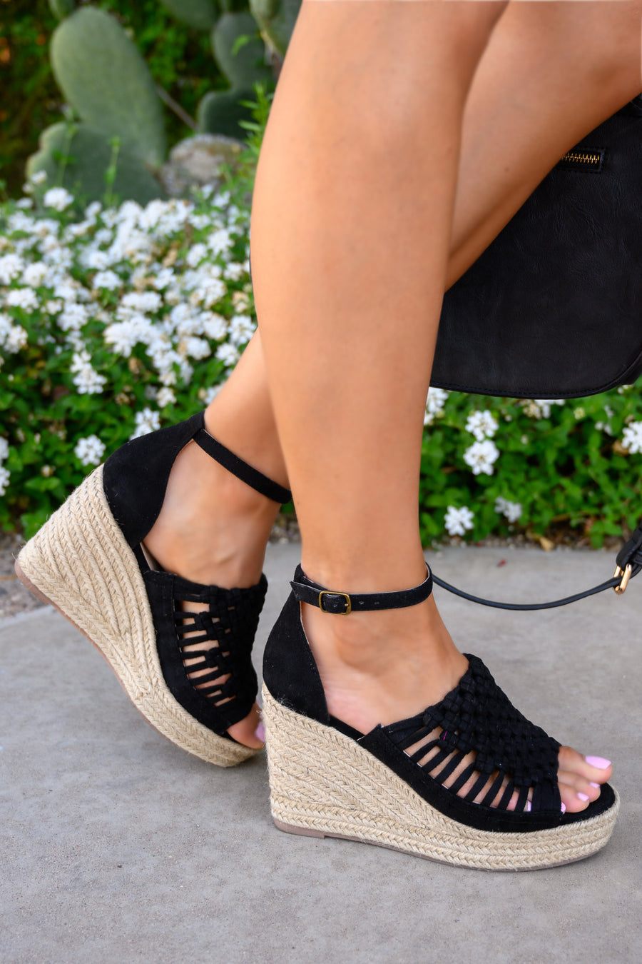 Anastasia Wedges - Black women's peep-toe braided heels, Closet Candy Boutique 1