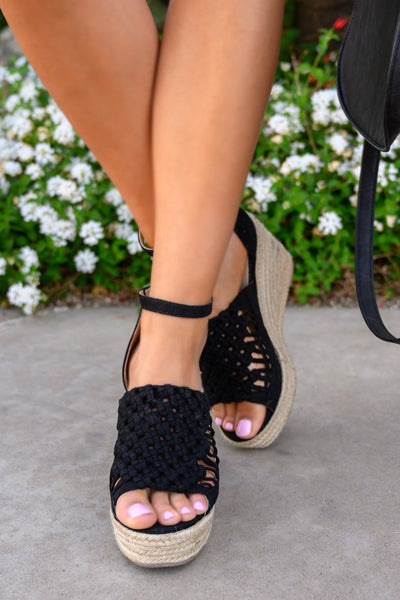 Anastasia Wedges - Black women's peep-toe braided heels, Closet Candy Boutique 4