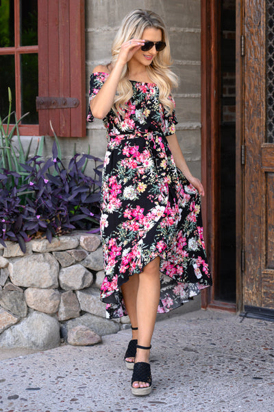 Meet Me In The Garden Maxi Dress - Black womens trendy high low off shoulder floral dress closet candy front