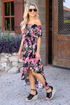 Meet Me In The Garden Maxi Dress - Black womens trendy high low off shoulder floral dress closet candy side