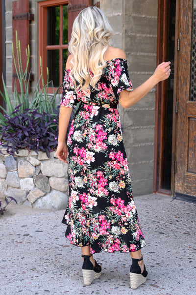 Meet Me In The Garden Maxi Dress - Black womens trendy high low off shoulder floral dress closet candy back