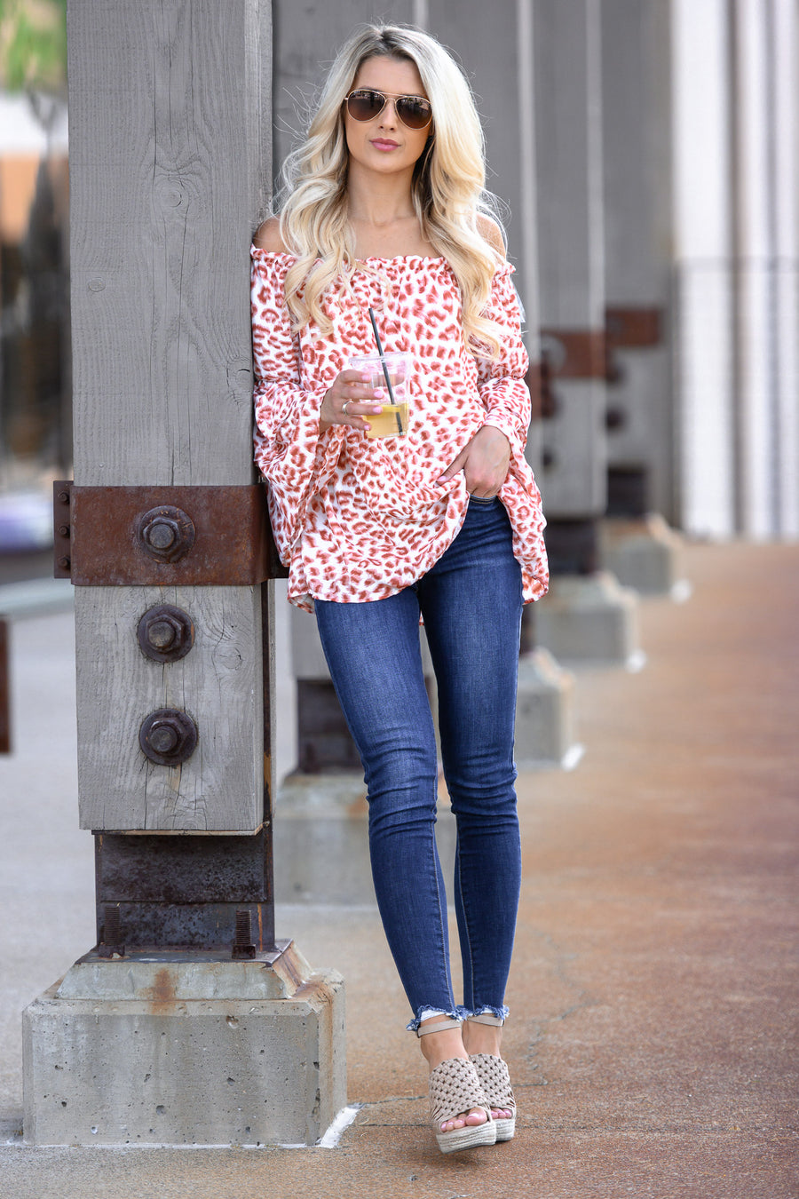 This Is My Song Top - Brick women's leopard print off the shoulder bell sleeve top, Closet Candy Boutique 1