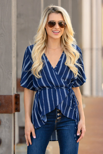 Working For The Weekend Wrap Top - Navy women's striped v-neck top, Closet Candy Boutique 2