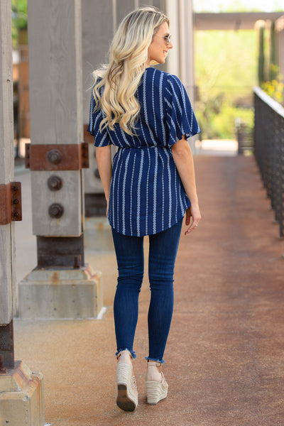 Working For The Weekend Wrap Top - Navy women's striped v-neck top, Closet Candy Boutique 4