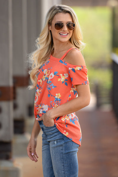 Pep In Your Step Floral Top - Coral womens waffle knit off the shoulder top closet candy side