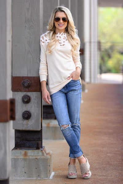 Old School Romantic Top - Cream women's floral lace long sleeve top, Closet Candy Boutique 2