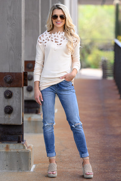 Old School Romantic Top - Cream women's floral lace long sleeve top, Closet Candy Boutique 4