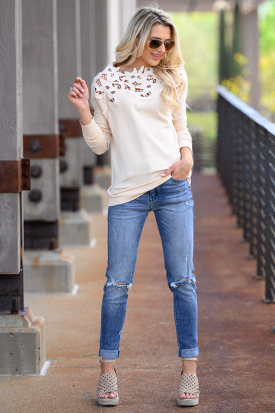 Old School Romantic Top - Cream women's floral lace long sleeve top, Closet Candy Boutique 1