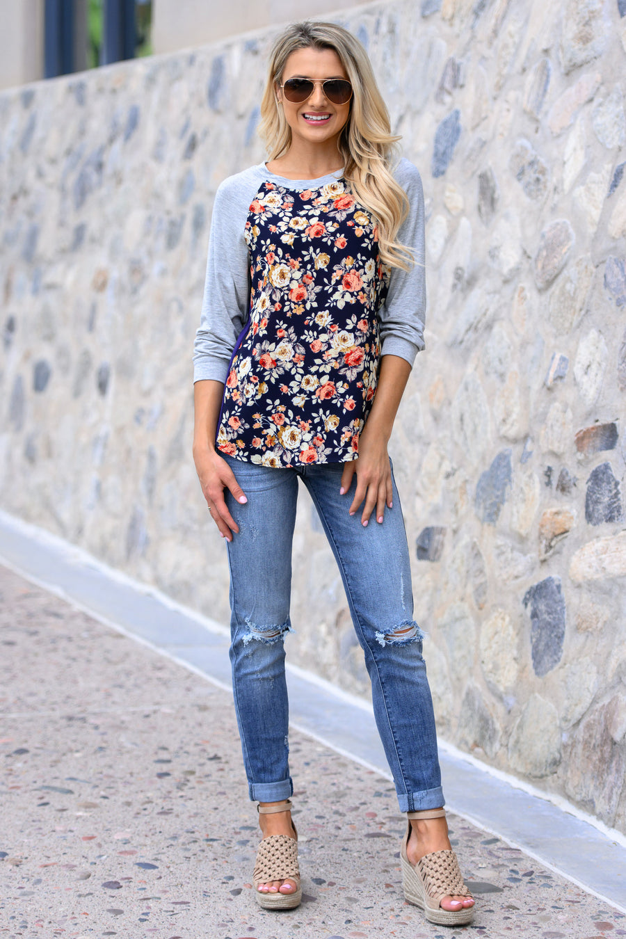 Never Forget The Basics Raglan Top - Navy women's floral long sleeve top, Closet Candy Boutique 1