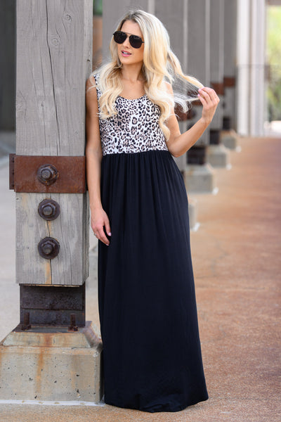 On The Loose Maxi Dress - Leopard womens stylish long dress with animal print and pockets closet candy front3