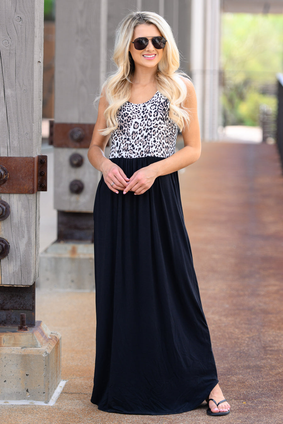 On The Loose Maxi Dress - Leopard womens stylish long dress with animal print and pockets closet candy front