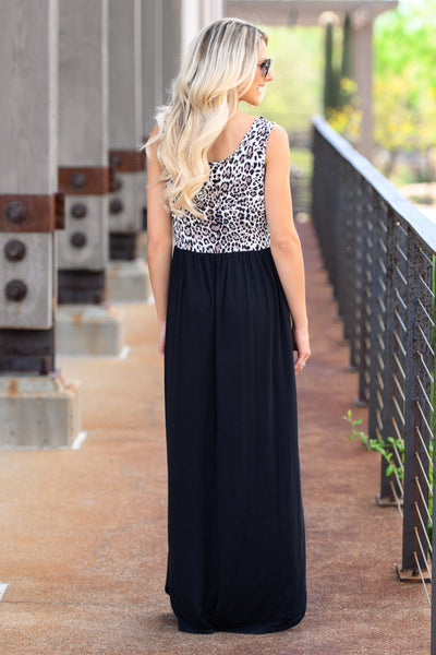 On The Loose Maxi Dress - Leopard womens stylish long dress with animal print and pockets closet candy back
