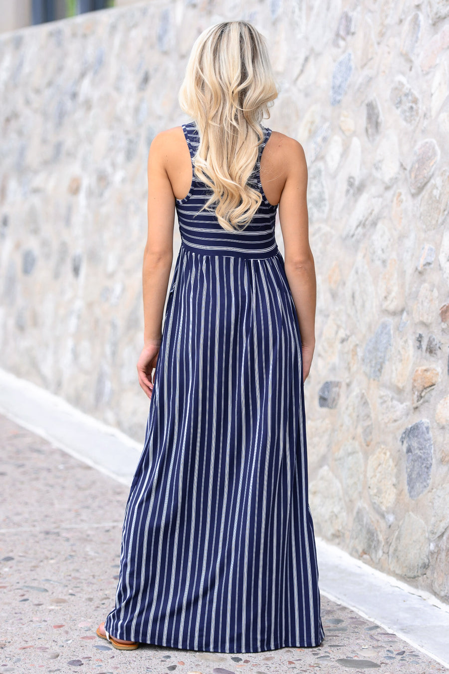 Always On My Mind Maxi Dress - Navy women's striped print tank dress, Closet Candy Boutique 1