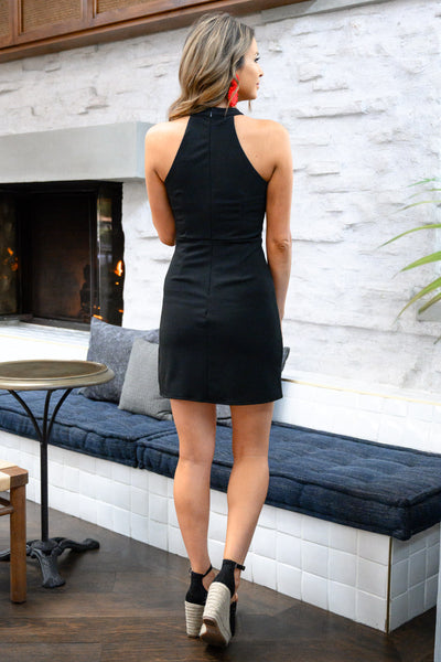 Sorry I've Got Plans Dress - Black womens fitted little black dress closet candy back