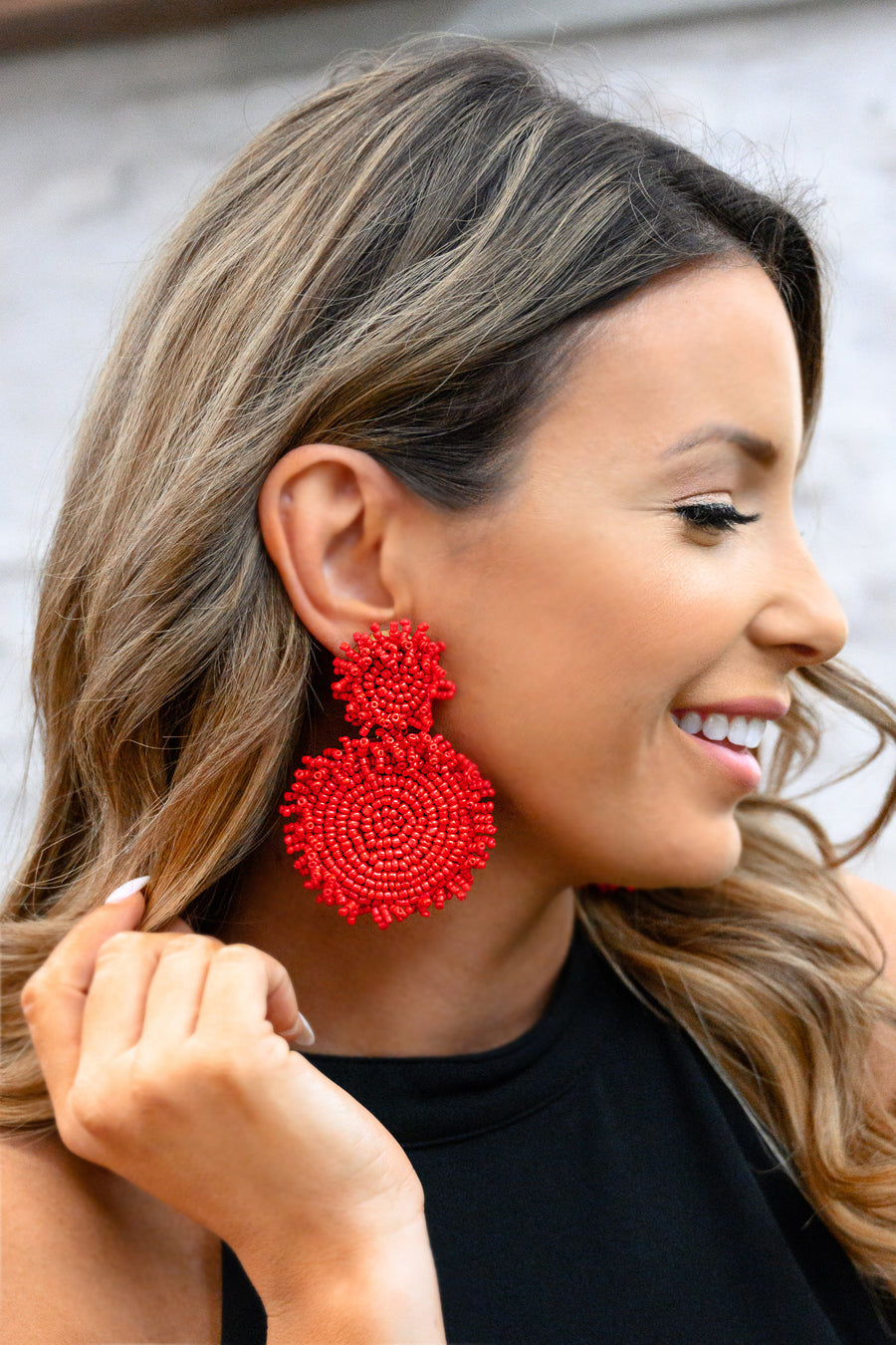 Endless Summer Beaded Earrings - Red womens trendy round beaded statement earrings closet candy close