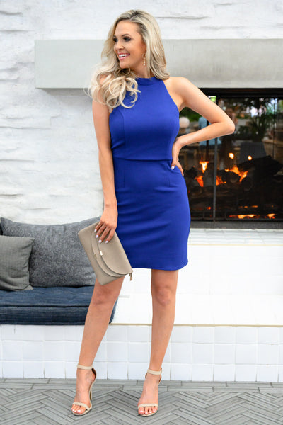 Sorry I've Got Plans Dress - Royal Blue womens trendy body con sexy dress closet candy front