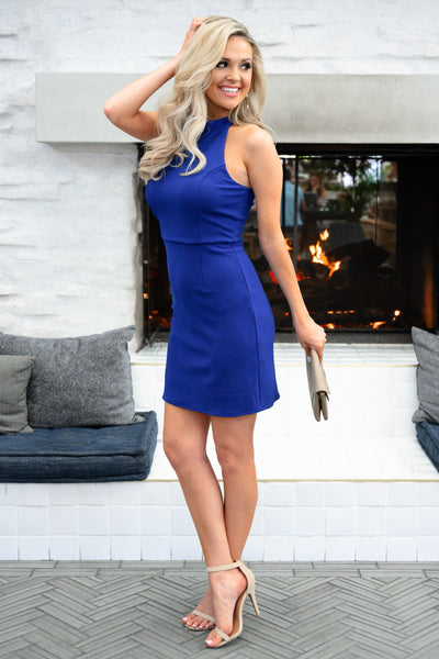 Sorry I've Got Plans Dress - Royal Blue womens trendy body con sexy dress closet candy side