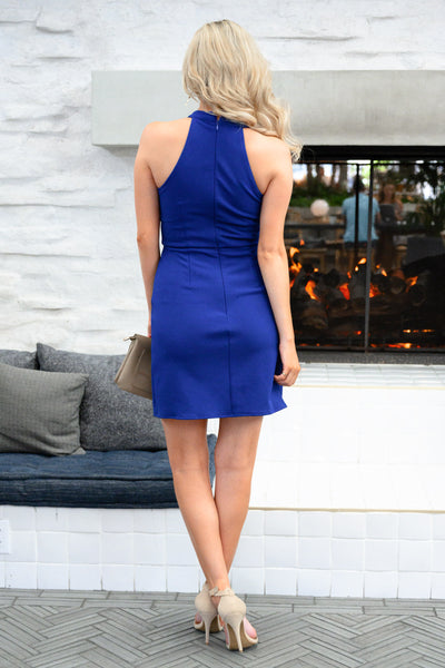 Sorry I've Got Plans Dress - Royal Blue womens trendy body con sexy dress closet candy back