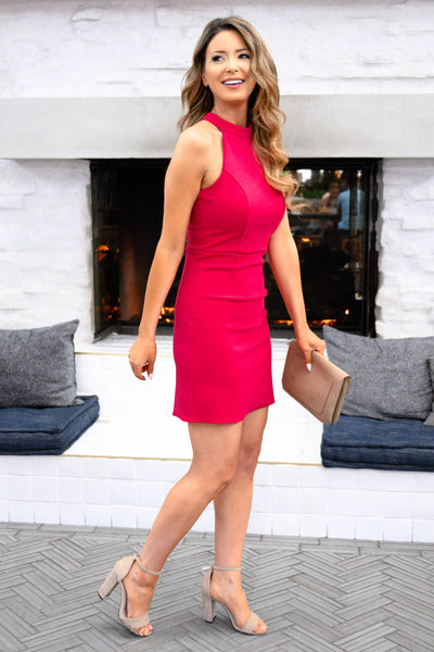 Sorry I've Got Plans Dress - Fuchsia womens sexy bodycon fitted dress closet candy side