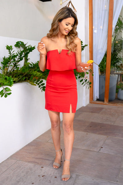 Secret Rendezvous Strapless Dress  - Red womens strapless sexy party dress closet candy front