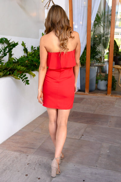 Secret Rendezvous Strapless Dress  - Red womens strapless sexy party dress closet candy  back