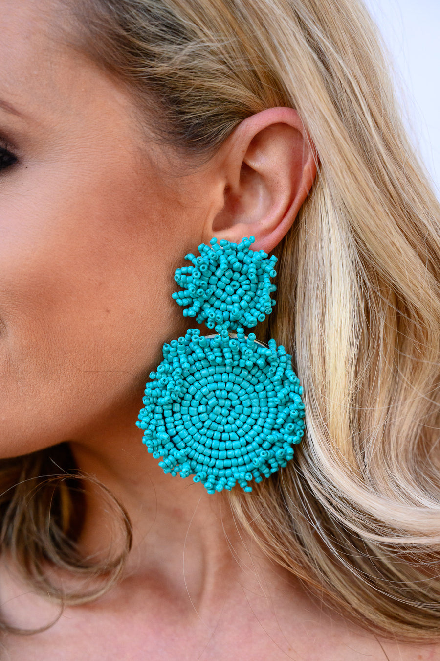 Endless Summer Beaded Earrings - Turquoise women's round large drop earrings, Closet Candy Boutique 1