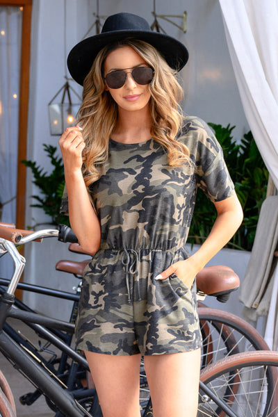 Command Attention Romper - Camo womens trendy camo pront romper with tie waist closet candy front
